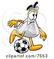 An Erlenmeyer Conical Laboratory Flask Beaker Mascot Cartoon Character Kicking A Soccer Ball