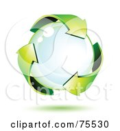 Three 3d Green Recycle Arrows Around A Bubble