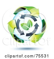 3d Green Recycle Arrows Around Two Leaves In A Bubble