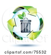 Royalty Free RF Clipart Illustration Of 3d Green Recycle Arrows Around A Trash Can Bubble by beboy