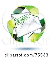 Three 3d Green Recycle Arrows Around An Email