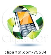 Royalty Free RF Clipart Illustration Of Three 3d Green Recycle Arrows Around A Cell Phone by beboy