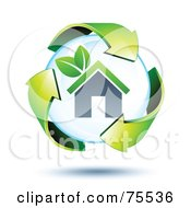 3d Green Recycle Arrows Around A Home Bubble