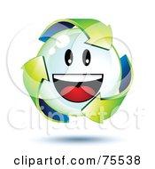 3d Green Recycle Arrows Around A Smiley Face Bubble