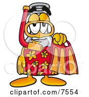 Clipart Picture Of An Erlenmeyer Conical Laboratory Flask Beaker Mascot Cartoon Character In Orange And Red Snorkel Gear