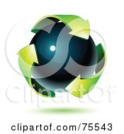 Three 3d Green Recycle Arrows Around A Black Orb