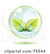 Royalty Free RF Clipart Illustration Of Dewy Leaves In A Bubble by beboy