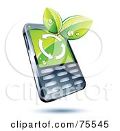 Modern Cell Phone With Green Leaves And Arrows