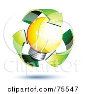 Royalty Free RF Clipart Illustration Of Three 3d Green Recycle Arrows Around A Yellow Light Bulb by beboy