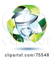 Royalty Free RF Clipart Illustration Of Three 3d Green Recycle Arrows Around A Trash Can by beboy
