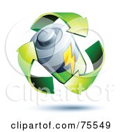Royalty Free RF Clipart Illustration Of Three 3d Green Recycle Arrows Around A Battery