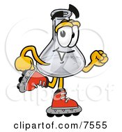 Clipart Picture Of An Erlenmeyer Conical Laboratory Flask Beaker Mascot Cartoon Character Roller Blading On Inline Skates by Toons4Biz