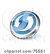 Round Blue And Chrome 3d Refresh Arrow Web Site Button