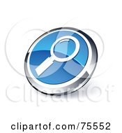 Round Blue And Chrome 3d Magnifying Glass Web Site Button
