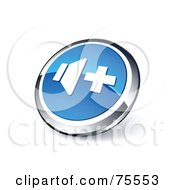 Round Blue And Chrome 3d Volume Up Web Site Button