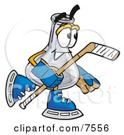 An Erlenmeyer Conical Laboratory Flask Beaker Mascot Cartoon Character Playing Ice Hockey