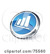 Royalty Free RF Clipart Illustration Of A Round Blue And Chrome 3d Bar Graph Web Site Button