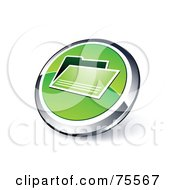 Royalty Free RF Clipart Illustration Of A Round Green And Chrome 3d File Web Site Button