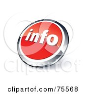 Round Red And Chrome 3d Info Web Site Button
