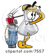 Clipart Picture Of An Erlenmeyer Conical Laboratory Flask Beaker Mascot Cartoon Character Swinging His Golf Club While Golfing