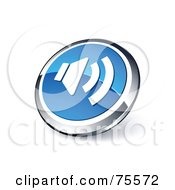 Round Blue And Chrome 3d Sound Web Site Button
