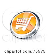 Royalty Free RF Clipart Illustration Of A Round Orange And Chrome 3d Shopping Cart Web Site Button