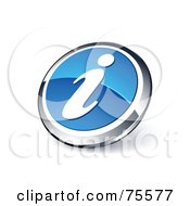 Round Blue And Chrome 3d Information Web Site Button