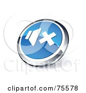 Round Blue And Chrome 3d Sound Off Web Site Button