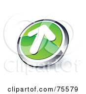 Round Green And Chrome 3d Up Arrow Web Site Button