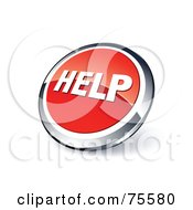Round Red And Chrome 3d Help Web Site Button