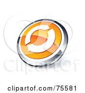 Round Orange And Chrome 3d Refresh Web Site Button