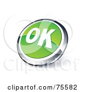 Round Green And Chrome 3d OK Web Site Button