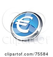 Royalty Free RF Clipart Illustration Of A Round Blue And Chrome 3d Euro Web Site Button