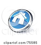 Round Blue And Chrome 3d Home Web Site Button