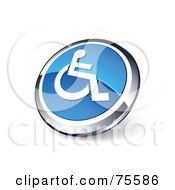 Royalty Free RF Clipart Illustration Of A Round Blue And Chrome 3d Handicap Web Site Button