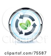 Blue And Chrome Leaf And Arrow Web Site Button