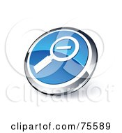 Round Blue And Chrome 3d Zoom Out Web Site Button