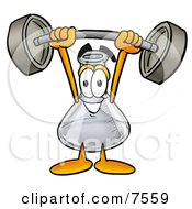 An Erlenmeyer Conical Laboratory Flask Beaker Mascot Cartoon Character Holding A Heavy Barbell Above His Head