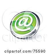 Round Green And Chrome 3d At Symbol Web Site Button