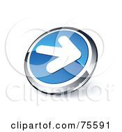 Round Blue And Chrome 3d White Arrow Web Site Button