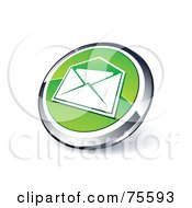Round Green And Chrome 3d Envelope Web Site Button