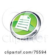 Round Green And Chrome 3d Document Web Site Button