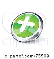 Round Green And Chrome 3d Plus Web Site Button