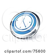Royalty Free RF Clipart Illustration Of A Round Blue And Chrome 3d Wall Clock Web Site Button