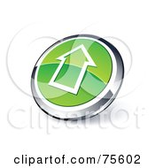 Round Green And Chrome 3d Up Arrow Outline Web Site Button