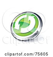 Royalty Free RF Clipart Illustration Of A Round Green And Chrome 3d Circling Arrows Web Site Button