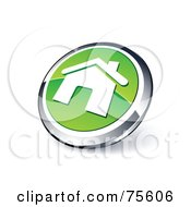 Round Green And Chrome 3d Home Page Web Site Button