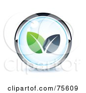 Royalty Free RF Clipart Illustration Of A Blue And Chrome Leafy Web Site Button