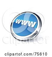 Round Blue And Chrome 3d WWW Web Site Button