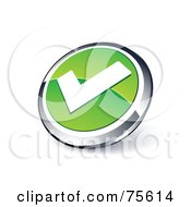 Round Green And Chrome 3d Check Mark Web Site Button